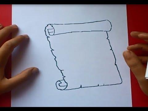 Como dibujar un pergamino paso a paso 2   How to draw a scroll 2 ...
