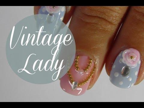 Vintage lady jewelry nail art tutorial