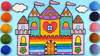 Coloring Rainbow Castle with Foam clay for Kids, Children | Learn Color, clay drawing