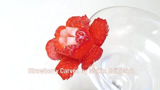 Strawberry | Quick Simple And Easy Idea Flower For Cocktail | Beginners 97 | Mutita Fruit Carving
