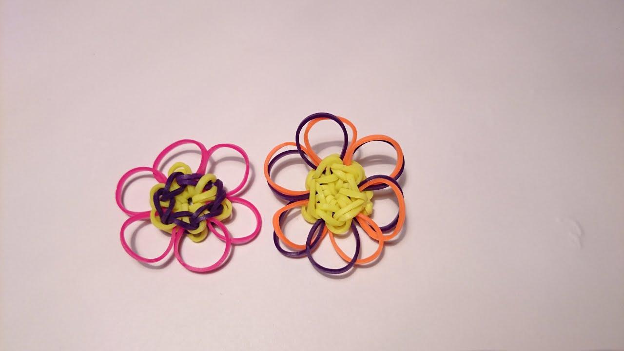 Схема плетения цветов из резиночек