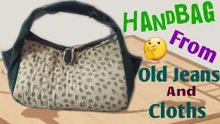 New design Handbag from Old Jeans and clothes // Best out of waste// by simple cutting