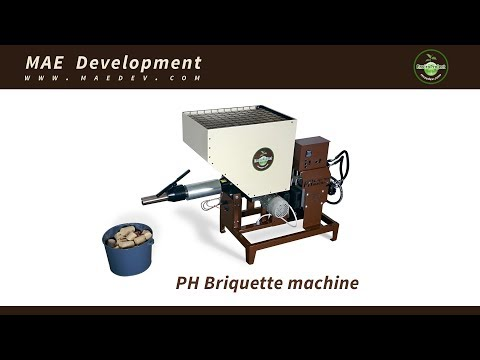 PH briquette machine - compact single phase press for sawdust and other biomass
