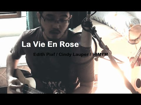 Edith Piaf/Cindy Lauper - La vie en rose (English and French Guitalele cover w/ lyrics)