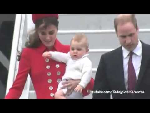William and Kate arrive in New Zealand with Prince George