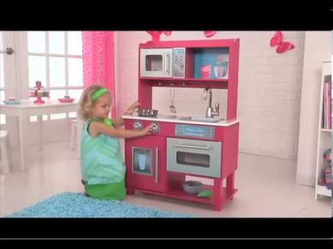 cuisine en bois rose gracie de kidkraft jouets de simulation en bois youtube. Black Bedroom Furniture Sets. Home Design Ideas