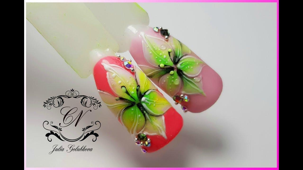 Нарисованная лилия на ногтях