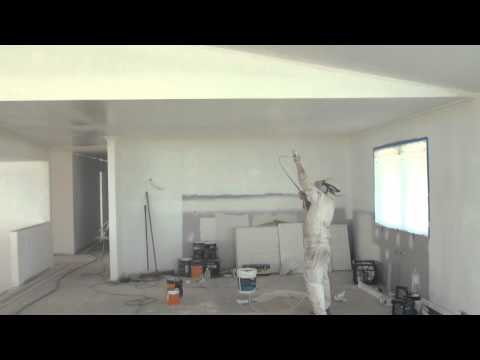 Spray Painting A Ceiling - How to paint a ceiling the easy way by using an airless spray gun