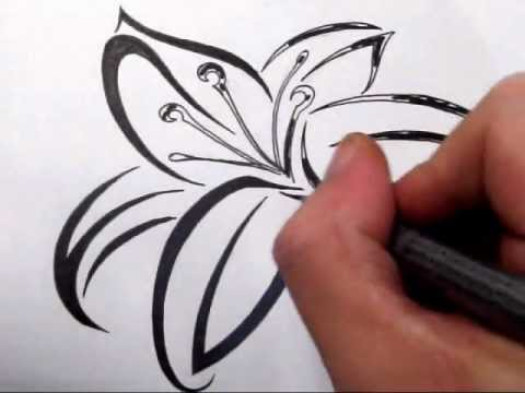 Lily Tattoos Drawing A Cool Tribal Tattoo Design Youtube