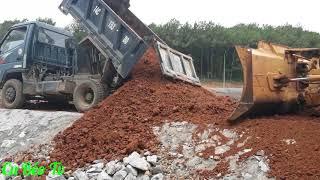 Xe ô tô chở đất đổ ben, máy ủi san đất ❤. Nhạc thiếu nhi.