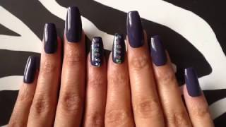 How I Shape Long Oval Nails Into Coffin/Ballerina Nails 037 Dark Gray Press On Nails