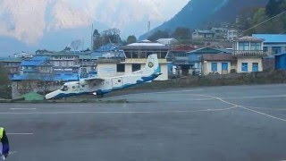 Airport Lukla (2860m)  Airplane take off...