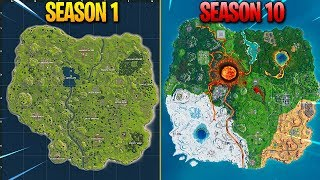 Evolution of Fortnite Map (Season 1 - Season 10)