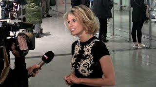 Sylvie Tellier giving interviews at Paris airport waiting for Miss Universe arrival from New York