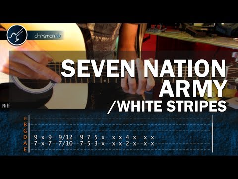 Como tocar Seven Nation Army WHITE STRIPES en Guitarra Acustica PRINCIPIANTES HD Tutorial Completo