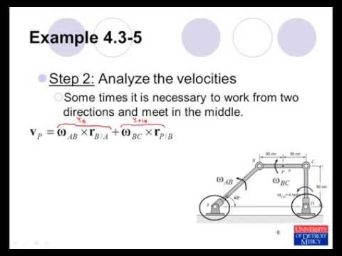 Conceptual Dynamics Example Problem 4.3-5: Rigid-Body Kinematics (mechanisms)