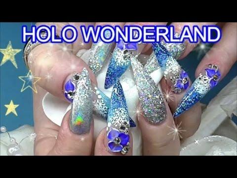 HOLO WINTER WONDERLAND ~ STILETTO ACRYLIC NAILS   ABSOLUTE NAILS