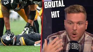Pat McAfee Reacts To BRUTAL Mason Rudolph Hit