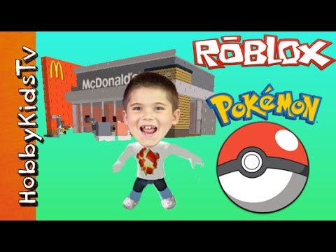 ROBLOX McDonalds + Pokemon! HobbyPig Plays Video Game and Card Game Time Family Fun HobbyKidsTV