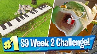 Visit an oversized Phone, a Big Piano and a giant Dancing Fish - Fortnite Season 9 Week 2 Challenge