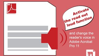 How to activate the read out loud function and change the reader's voice in Adobe Acrobat Pro 11