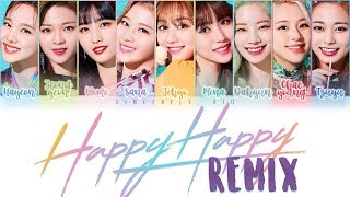 TWICE - HAPPY HAPPY Collapsedone Remix Color Coded Lyrics 가사 | ENG, KAN, ROM