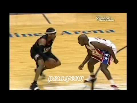 Allen Iverson shows Jason Kidd & Jacque Vaughn how to use the CROSSOVER effectively (2006)
