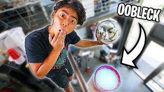 Giant Aluminum Ball Vs Oobleck from 250cm!