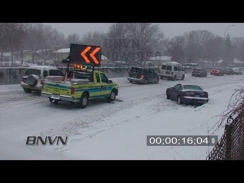 2/26/2009 Winter Storm Travel Hazard Stock Video