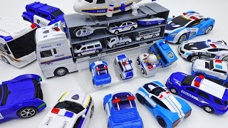 Police Car Carrier and Police Vehicle Toys Collection~!