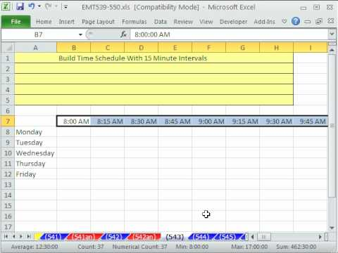 Excel Magic Trick 543 Build Time Schedule With 15 Minute Intervals YouTube