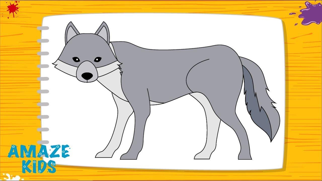Рисованный волк детям