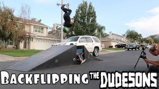 TRAMPOLINE AND POOL FLIPS WITH THE DUDESONS!