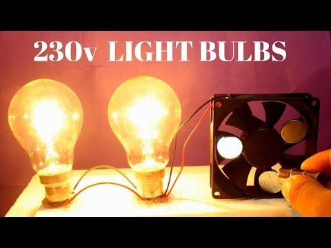 Two Free Energy 230v Light Bulbs Using Magnet For Lifetime - 230v Light Bulbs Using PC Cooling Fan thumbnail