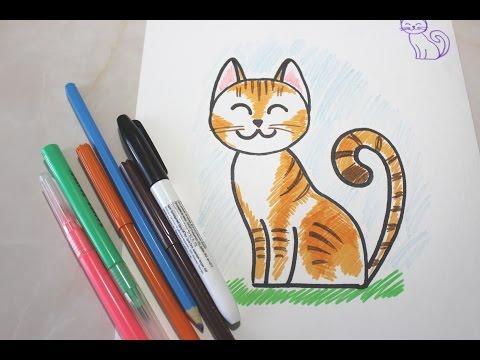 Как нарисовать котенка поэтапно фломастером