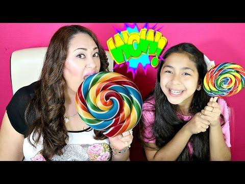 GIANT Rainbow Lollipops and Piñata Gumballs CANDY Taste|B2cutecupcakes