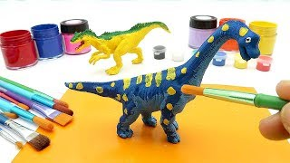 Coloring Brachiosaurus Dinosaurs Compilation - Learn Dinosaur With Dino Coloring Playset!