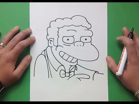 Como dibujar a Moe paso a paso - Los Simpsons | How to draw Moe - The Simpsons