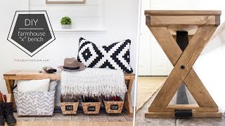 "DIY Farmhouse ""X"" Wood Bench // Breadboard Style Top"