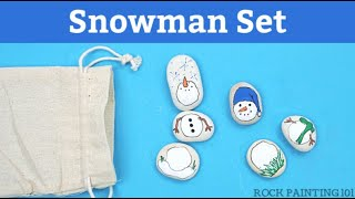 How to paint snowman rocks