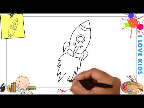 How to draw a rocket EASY step by step for kids, beginners, children 1