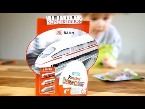 Kinder Surprise Bahn Locomotive 4 Eggs - Limited Edition - and Moschi Monsters Blind bag - Video