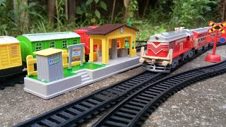 New Railway Station with Steam Engine Train and Rajdhani Train for Kids