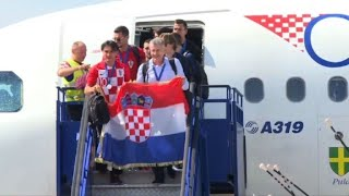 Croatia team arrives in Zagreb from Russia