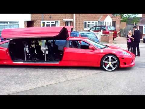 look out for part 2 http://www.youtube.com/watch?v=R3wdn1mfBik Ferrari F430 stretch limo. This exotic F434 limousine is available for hire for weddings, prom...