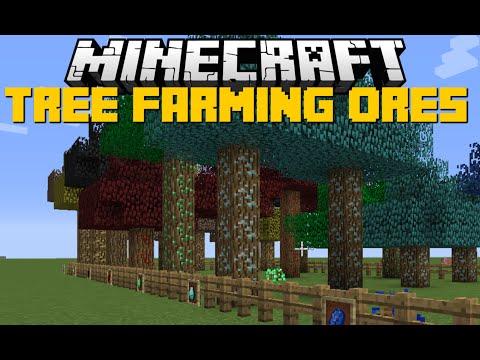 Minecraft: TREE ORES FARMING MOD (Diamond Tree's, Obsidian Tree's & XP Tree's) Mod Showcase