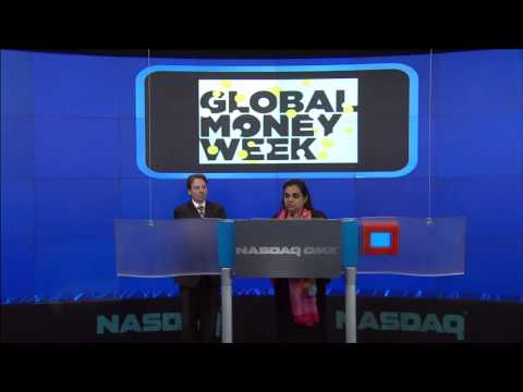 Ringing NASDAQ opening Bell for Global Money Week 18March2013 - CYFI and UNCDF