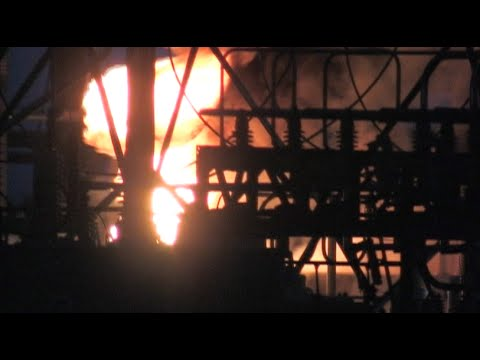 Firefighters Battle Fire At Power Plant Substation  -...