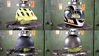 Which is The Strongest Helmet? Hydraulic Press Test!