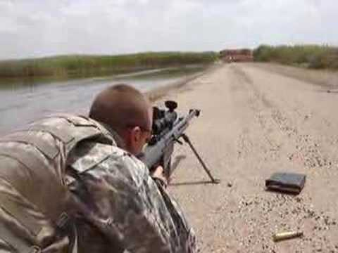 50 cal Barret sniper rifle fired in Iraq